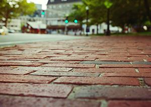 Close up of brick sidewalk